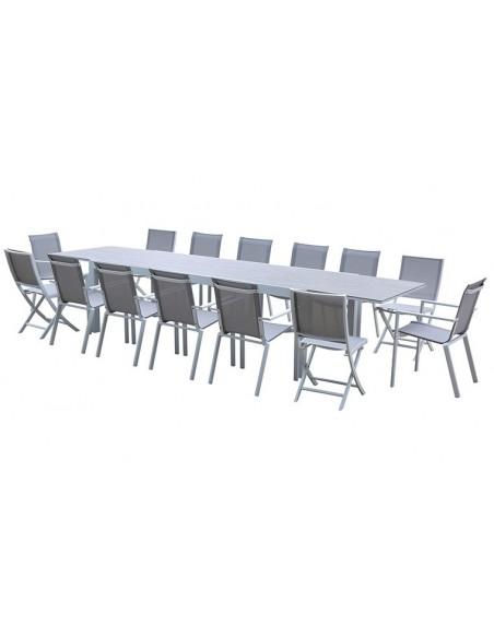 table jardin extensible alu blanc bois 10 14 places tulum