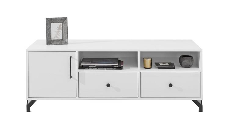 meuble tele blanc 2 tiroirs et 1 porte norway
