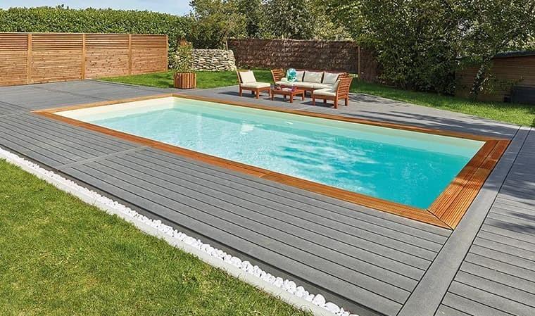 piscine rectangulaire bois en kit avec escalier haut gamme cadix 800