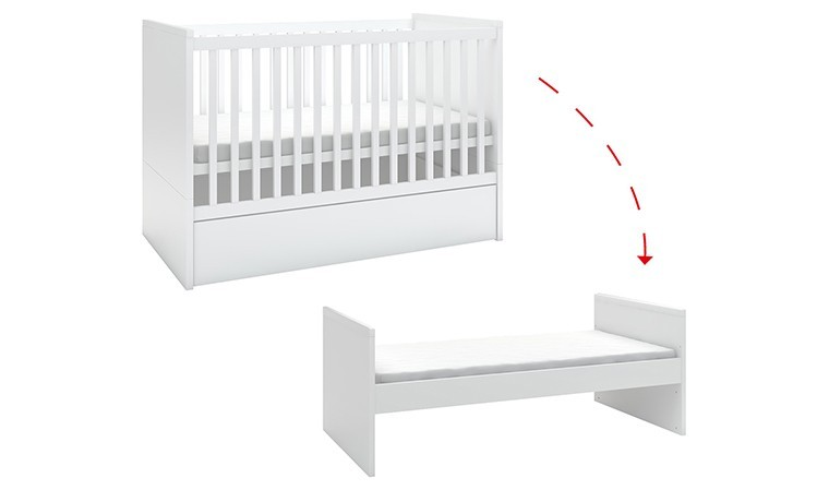 lit bebe blanc design evolutif 140x70 young users