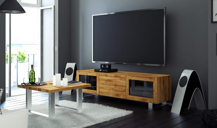 meuble tv en bois massif et acier brosse sophia 2