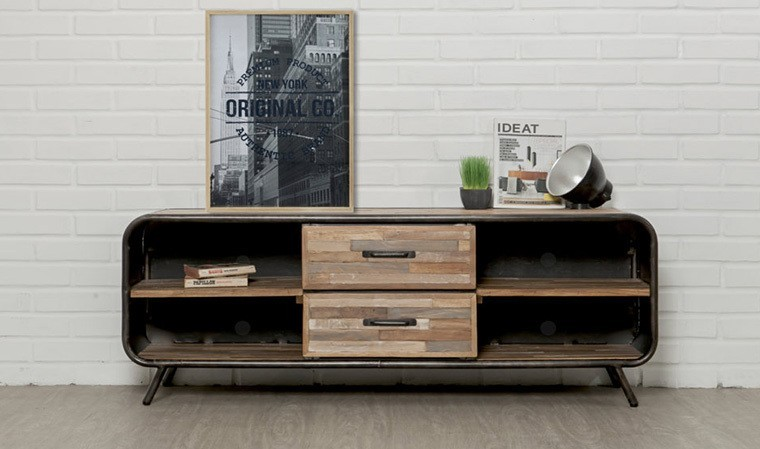 meuble tv vintage en teck recycle et metal style annees 60 fusion