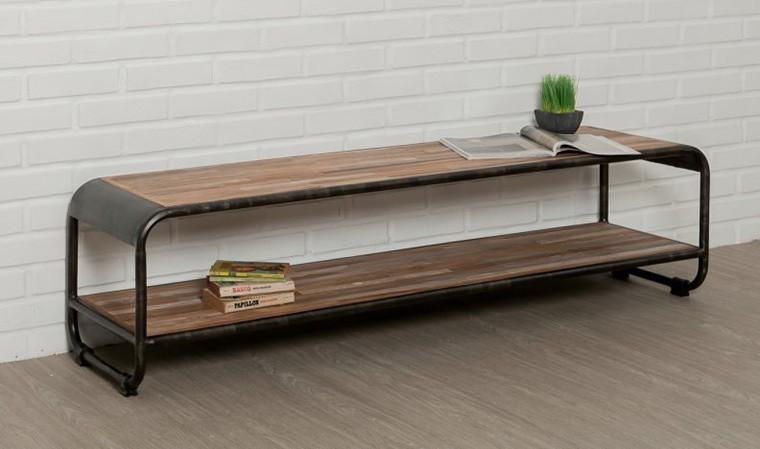 meuble tv en teck recycle 160 cm double plateau fusion