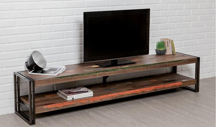 meuble tv long en teck recycle 200 cm york