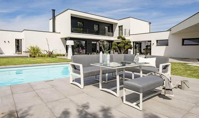salon de jardin en aluminium blanc et gris belize
