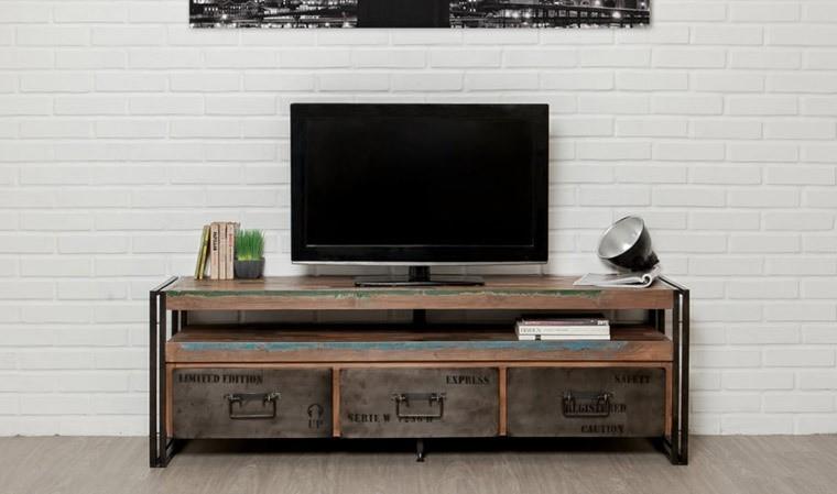 meuble tv atelier en teck recycle et metal brosse collection york