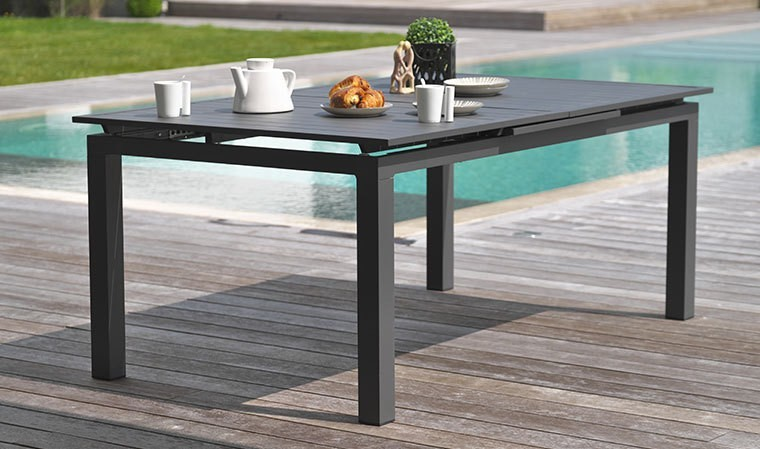 table jardin extensible 240 300 cm en alu anthracite miami