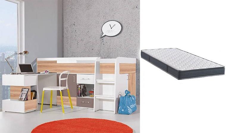 pack lit enfant combine bureau commode matelas puzzle