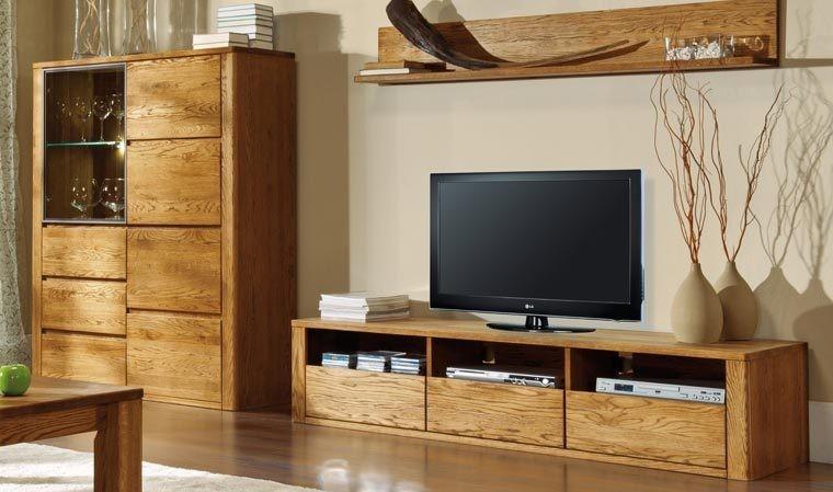 meuble tv haut de gamme en bois 3 tiroirs 3 niches