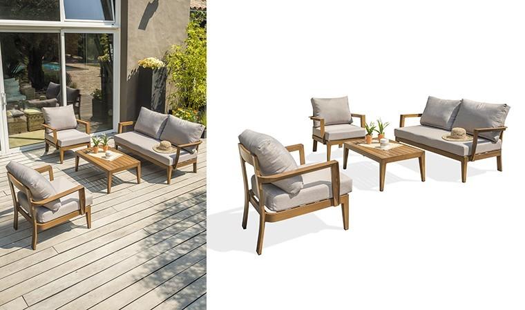 salon de jardin design en aluminium imitation bois portofino