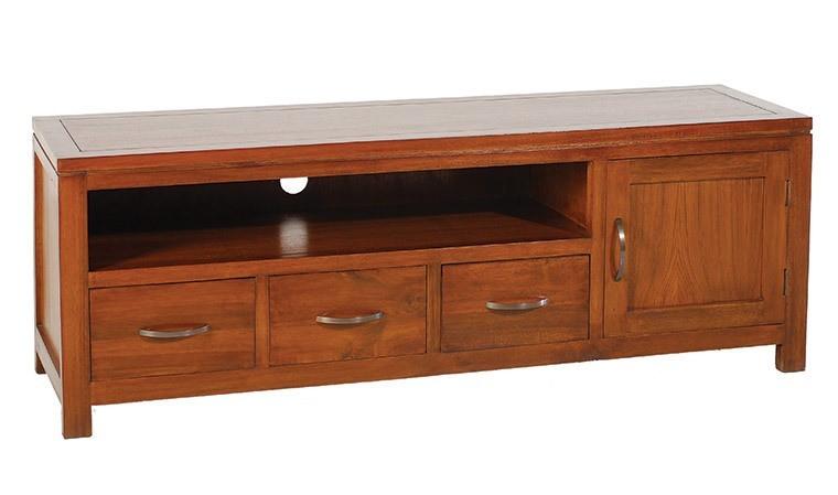 meuble tv bas en mindi massif bois exotique style ethnique chic