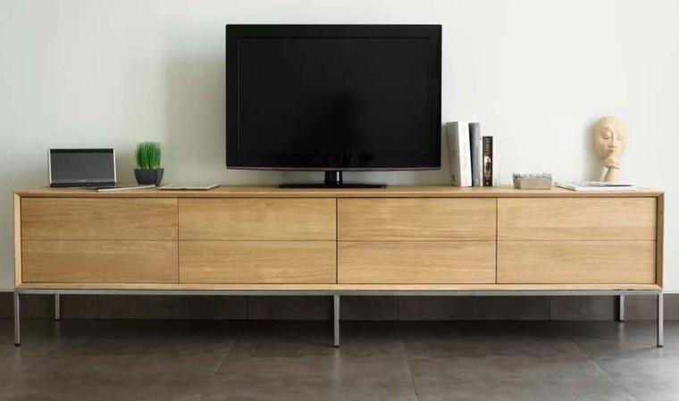 long meuble tv chene massif et acier brosse kubico