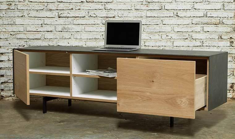 meuble tv design a niches chene beton xena