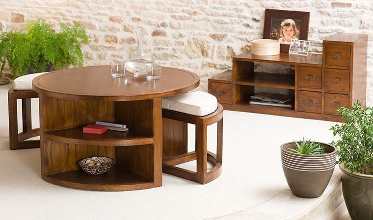 table basse ronde et 2 tabourets avec coussins milo