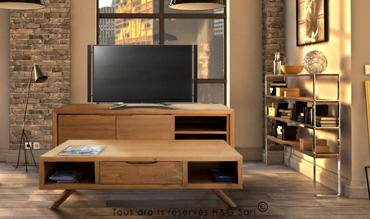meuble tv teck massif aston