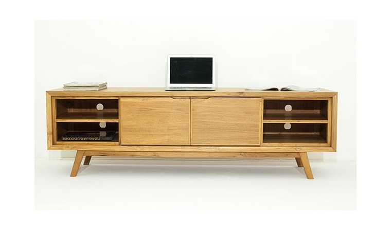 meuble tv style scandinave en teck massif aston