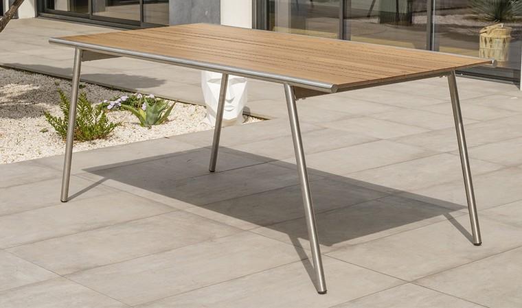 table de jardin design inox et hpl effet bois concarneau