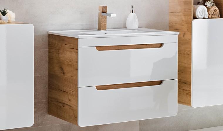 meuble suspendu avec plan vasque 80 cm blanc et chene baltik