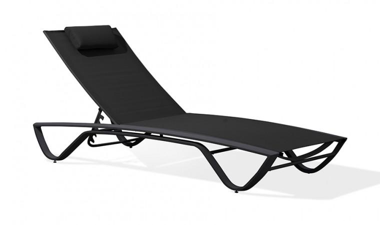 chaise longue multi positions noire figari