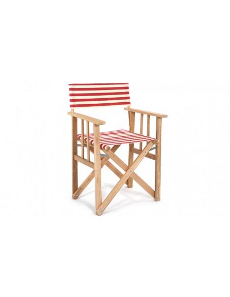 fauteuil pliant de jardin en bois et toile rayee rouge lona