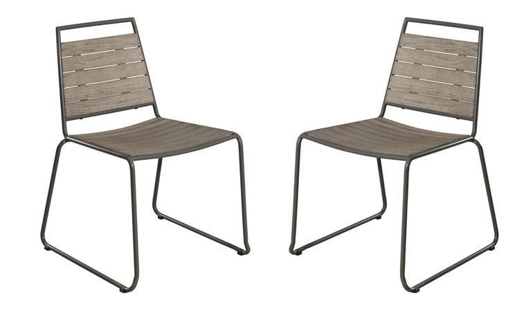 lot de 2 chaises de jardin en teck et acier lumpur