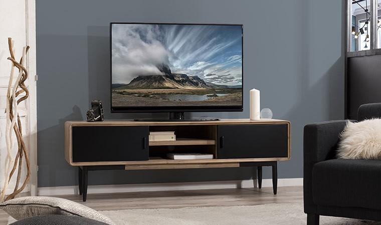 meuble tv en acacia massif et metal nero