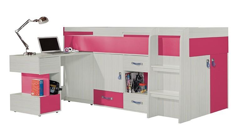 lit enfant combine rose avec bureau amovible vera