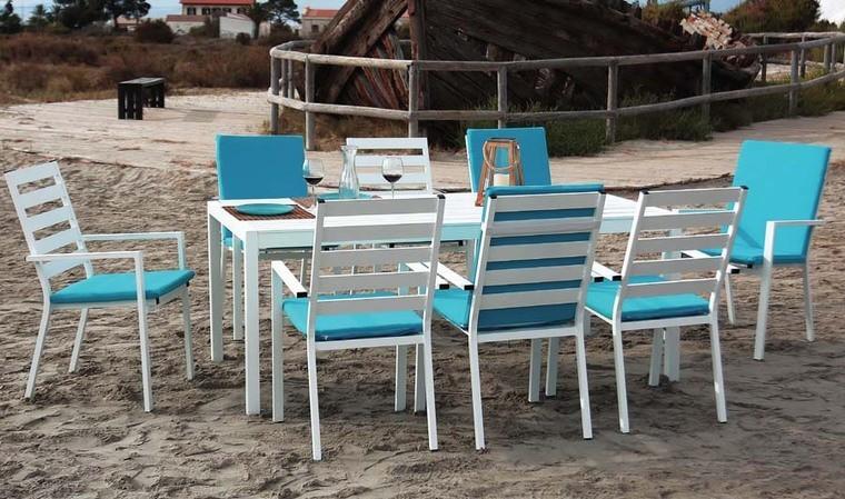 salon jardin 8 fauteuils blanc et turquoise feliz
