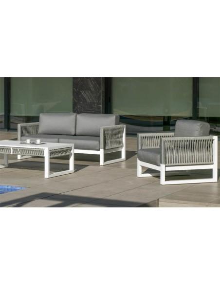 salon de jardin design alu blanc et tissu tresse alabama