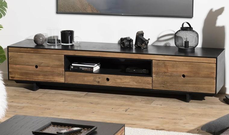 meuble tv bas en pin recycle oscar