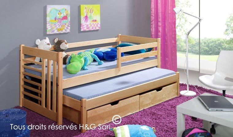 lit gigogne enfant en bois 2 tiroirs de rangement daniel