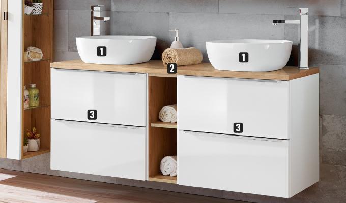 meuble avec deux vasques a poser 140 cm blanc caraibes