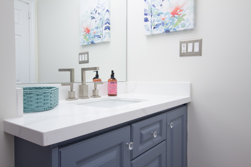 Painted bathroom vanity quartz countertops