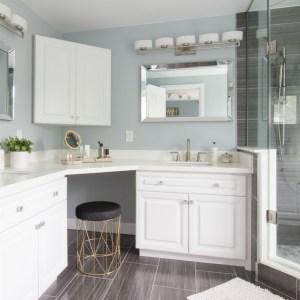 Elegant Master Bathroom with dramatic black tile shower