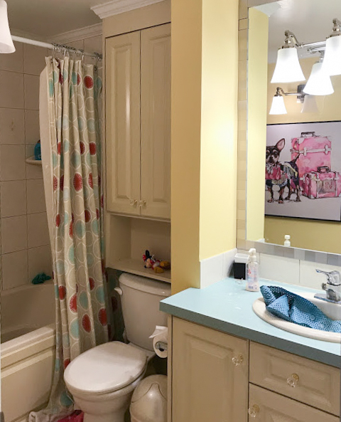 Colourful Kids Bathroom Before Photo