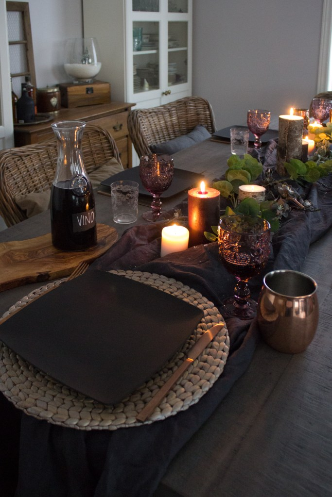 candlelit dinner   après-ski dining table decor   House by the Bay Design