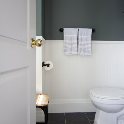 Modern Forest Green and Gold Powder Room Refresh