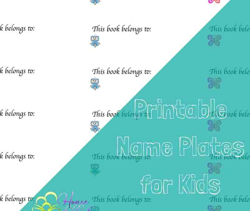 Free Printable Name Plates for Kids Books