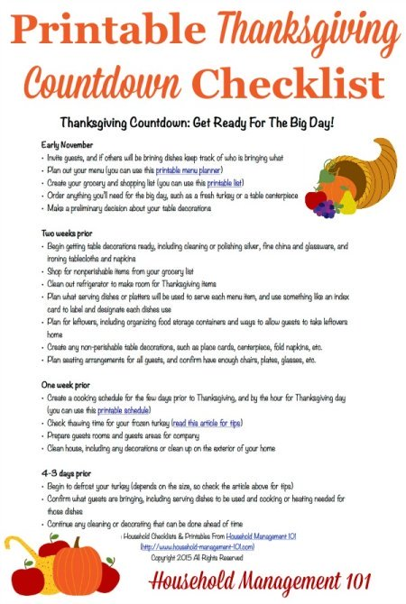 Thanksgiving Dinner Menu Planner
