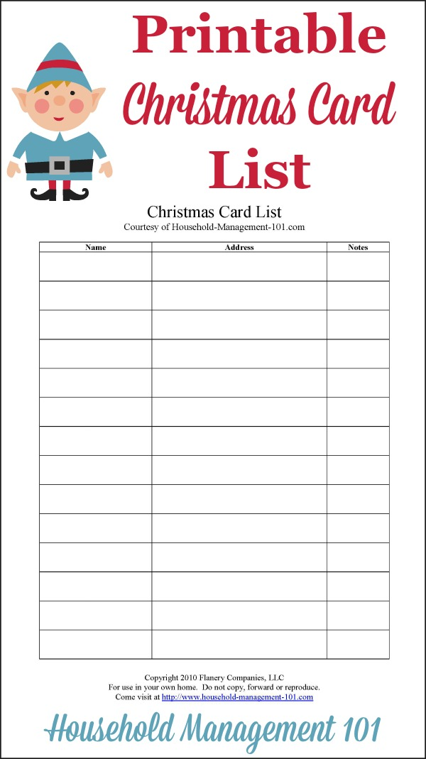 Christmas Card List Printable Plan Who Youll Send Cards