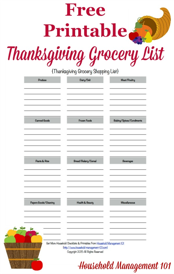 Thanksgiving Grocery List Template breathe in how to destress – Grocery List Organizer Template