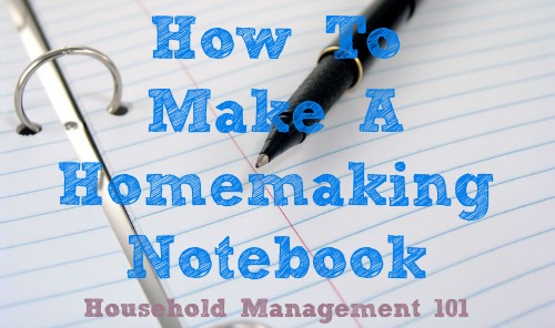 how to make a homemaking notebook