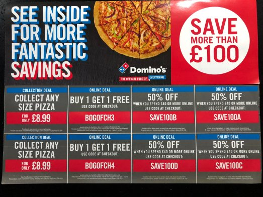 Domino's Vouchers  Where To Find Up To 50% Off - Household