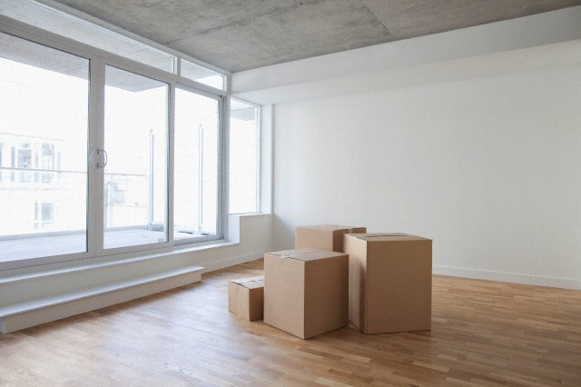Empty Room and Boxes, Toronto, Ontario, Canada
