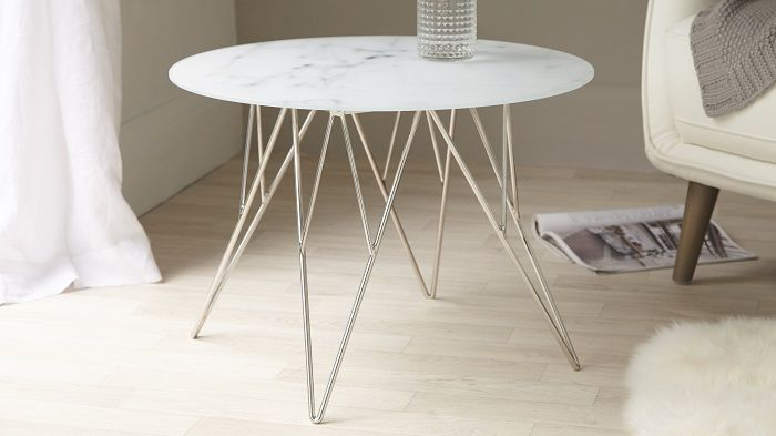 Danetti Ghost Marble Glass and Chrome Side Table