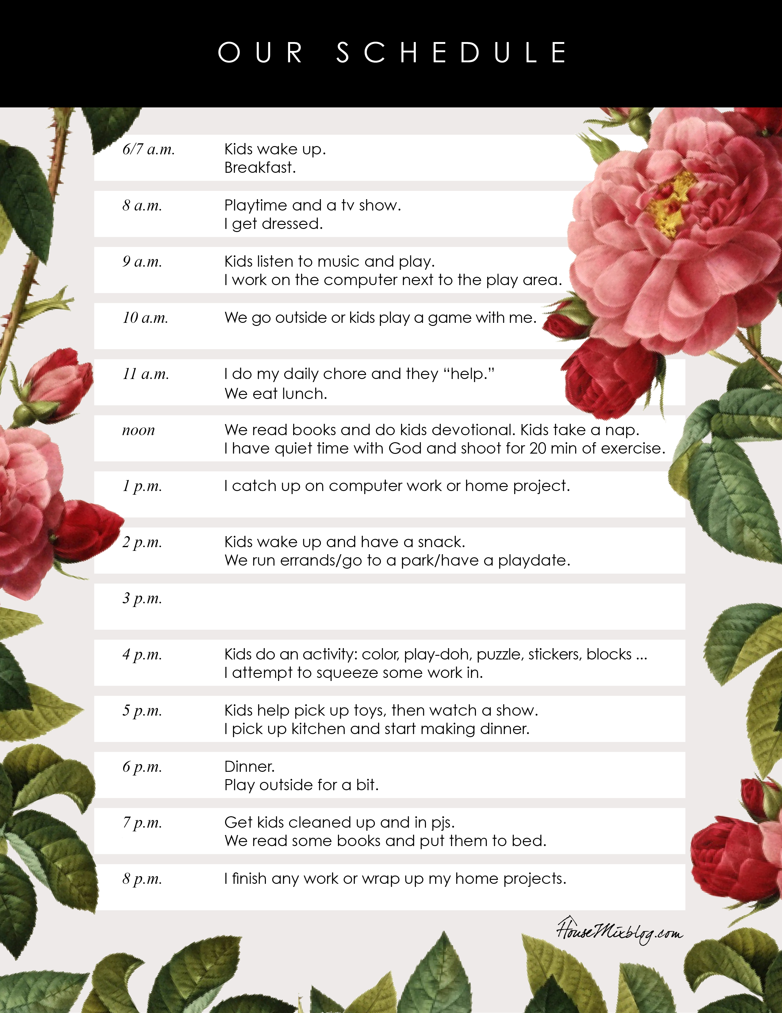 Pretty Printable Daily Kids Schedule