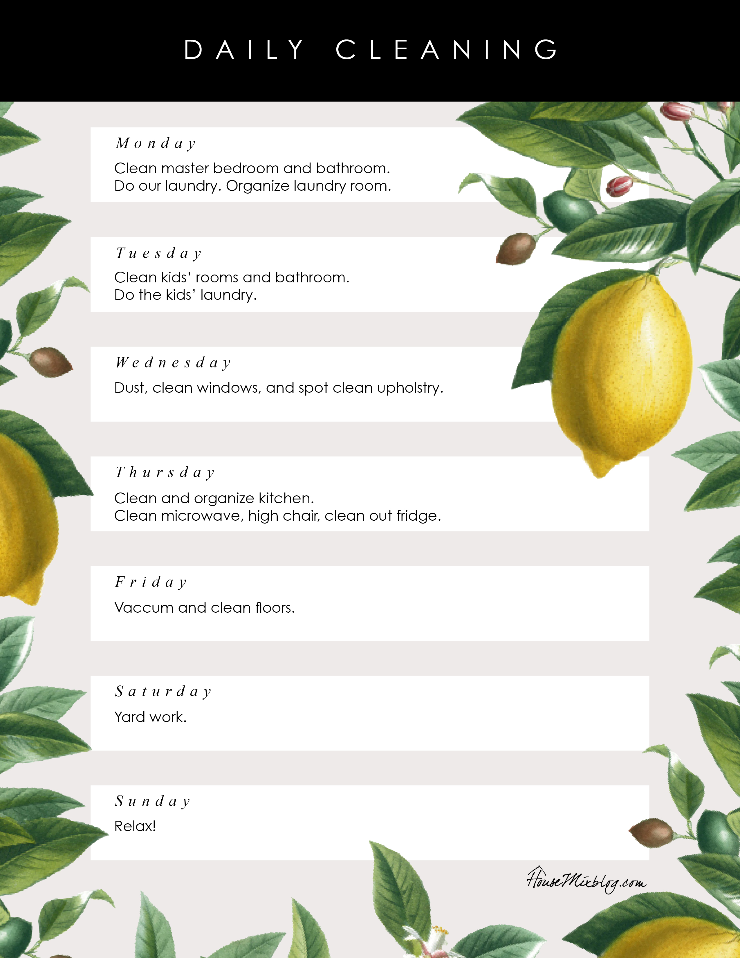 Pretty Printable Daily Cleaning List