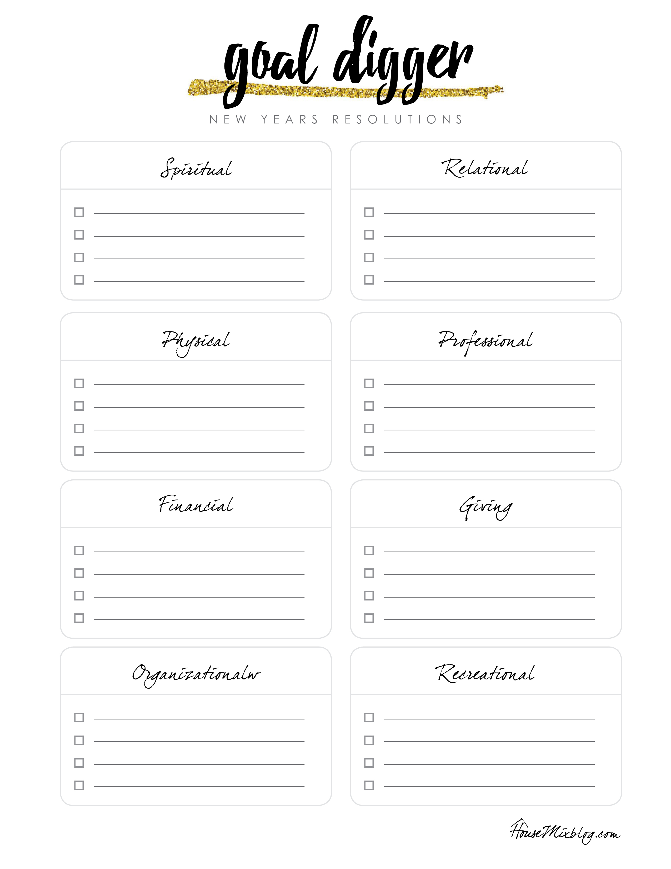 Goal Digger New Year S Resolution Printable