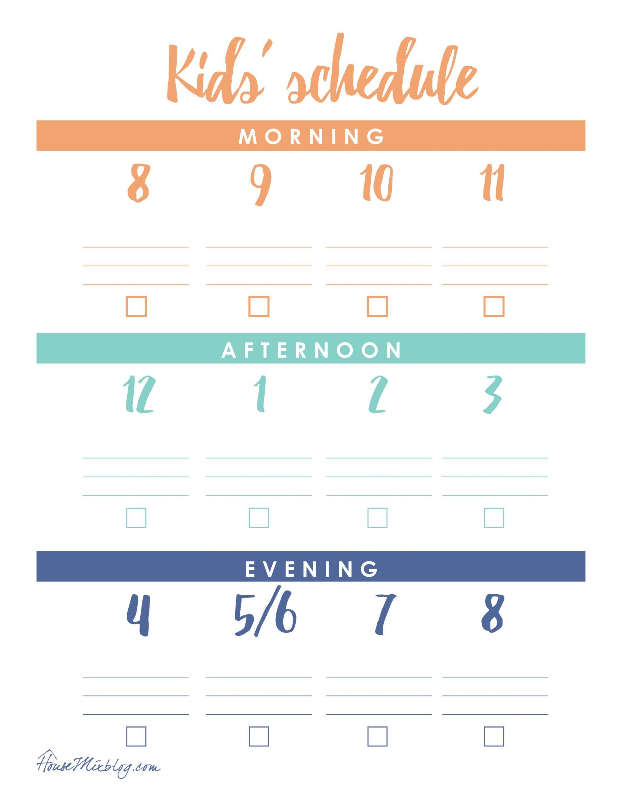 At Home Kid Schedule Printable