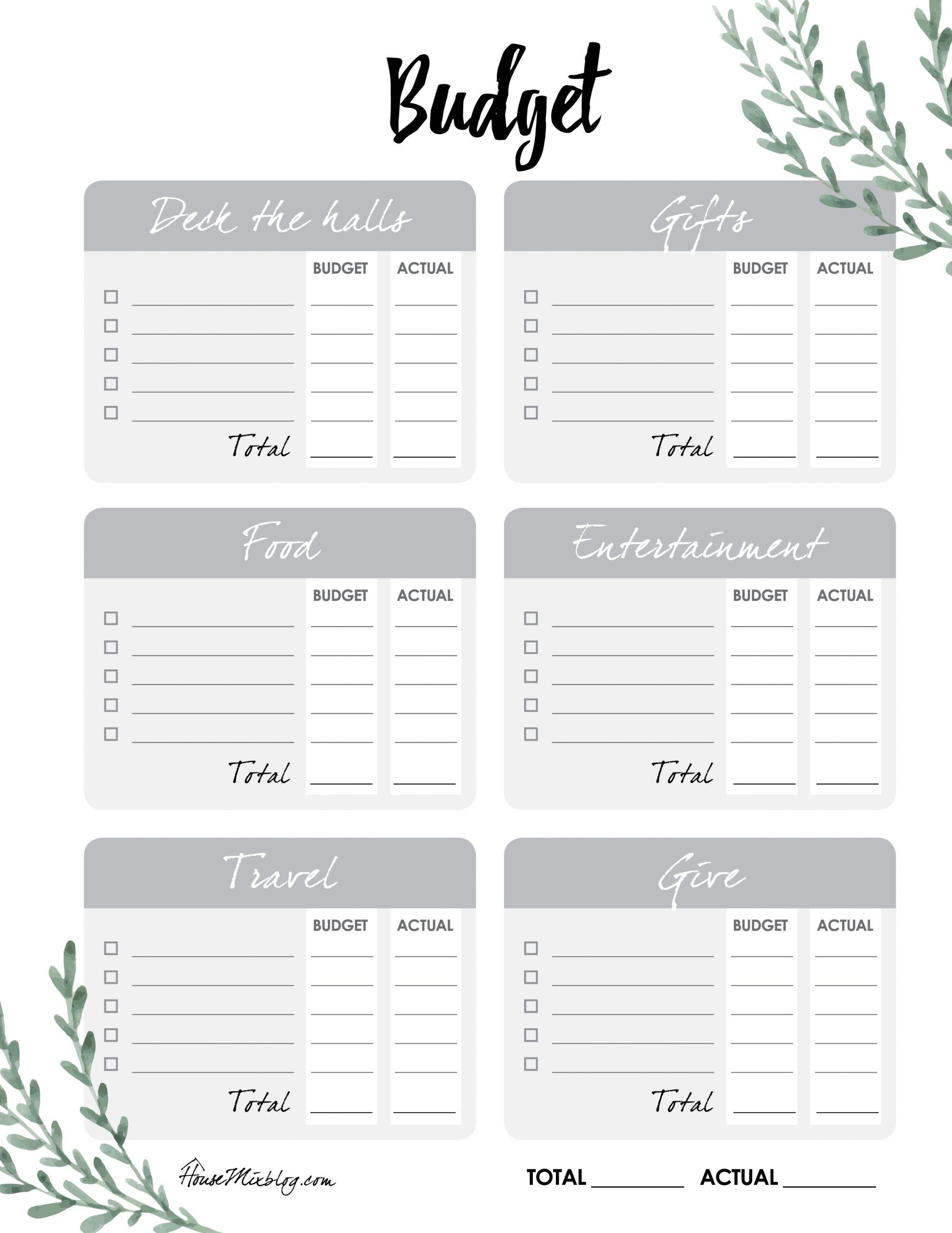 Free Christmas Checklist Budget Printables